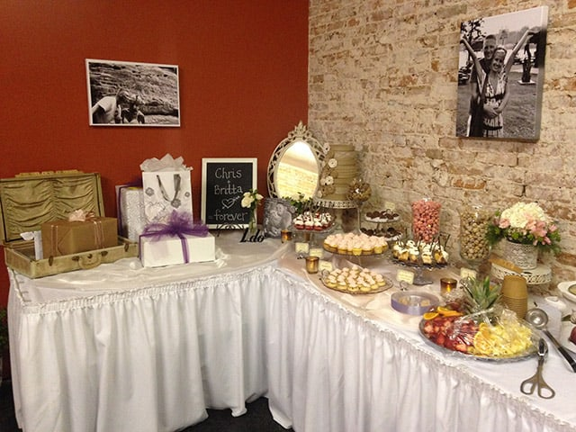 Need catering for a wedding reception? We prepared this spread for Chris and Britta's nuptials.